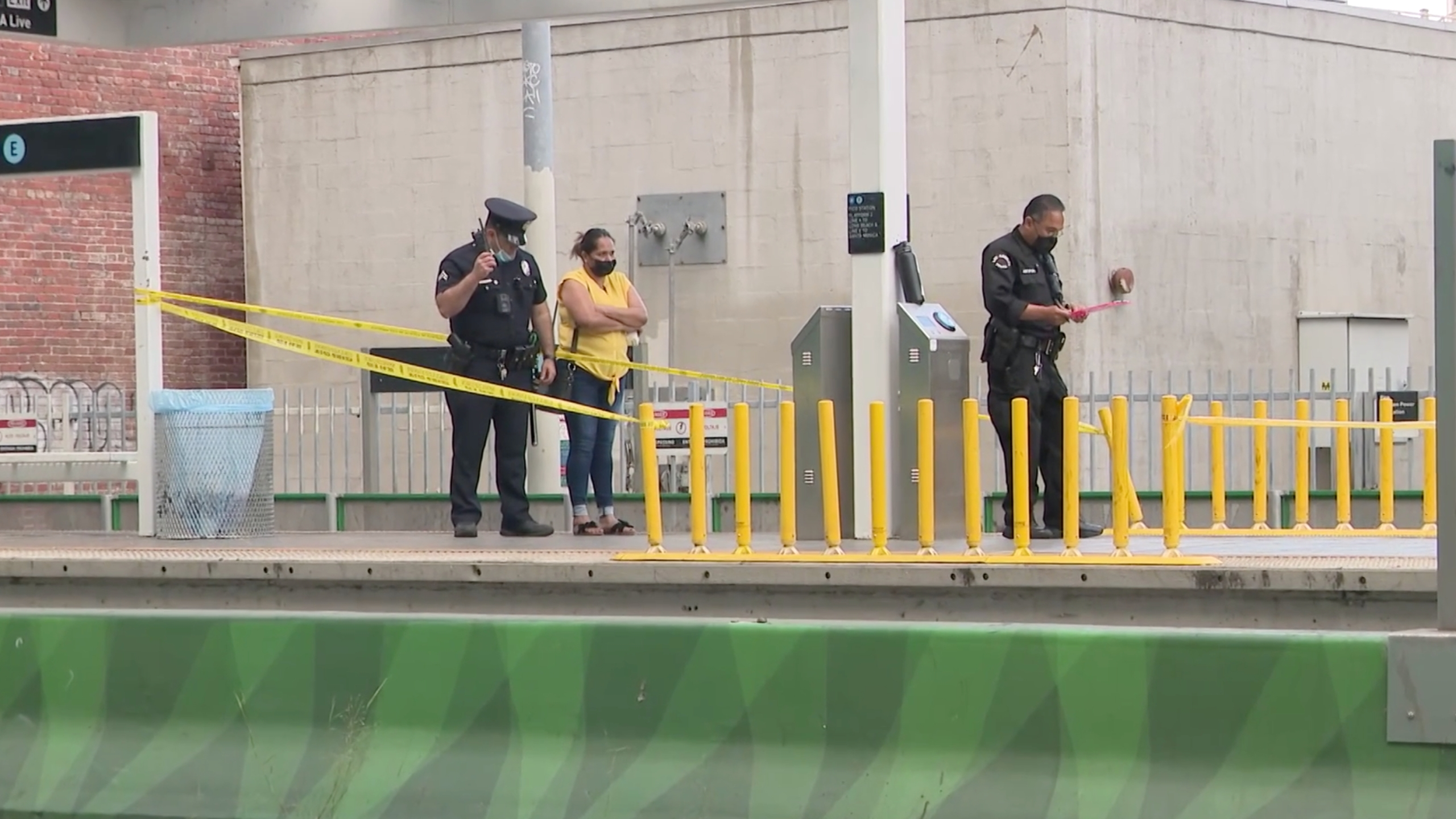 Police respond to investigate a stabbing at a Metro station in downtown Los Angeles on June 22, 2021. (KTLA)