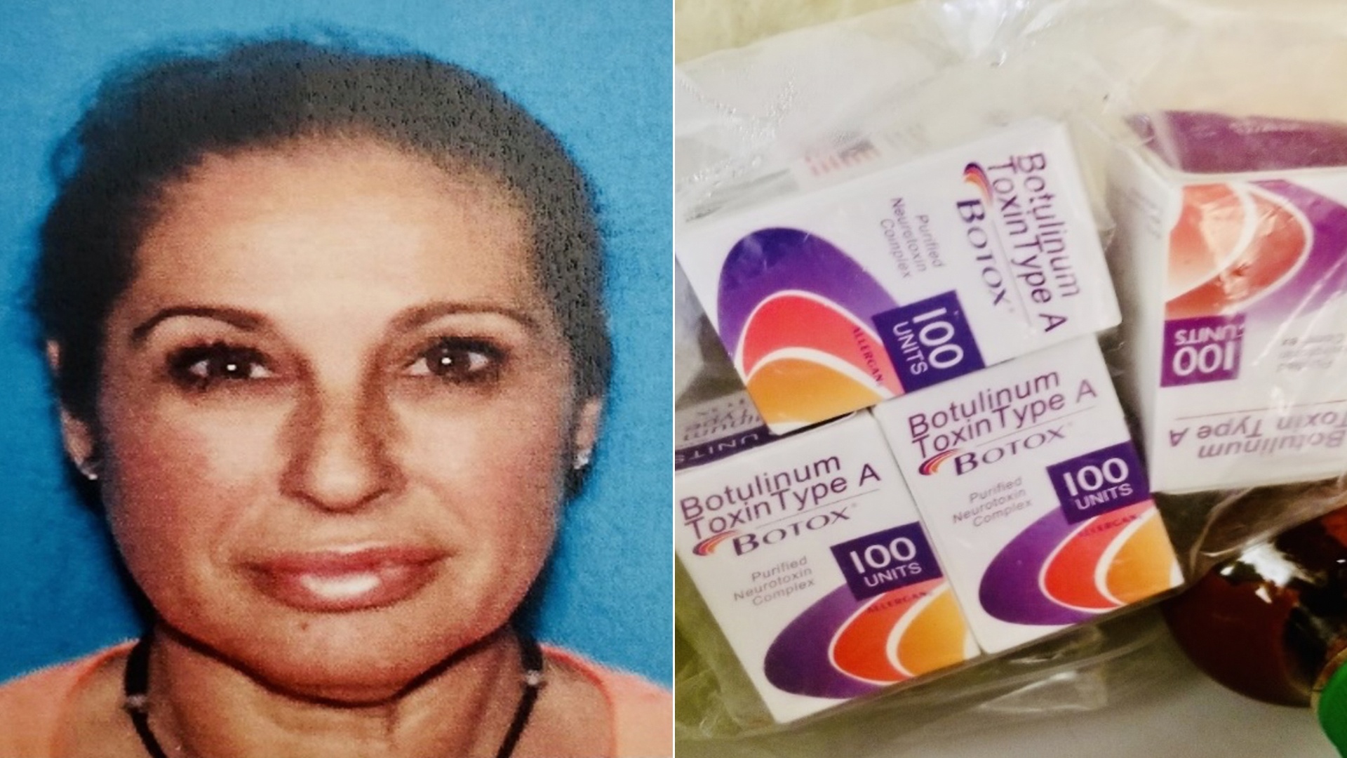 Josefa Acosta and counterfeit medical supplies allegedly seized from her are seen in undated photo released June 10, 2021, by the Los Angeles Police Department.