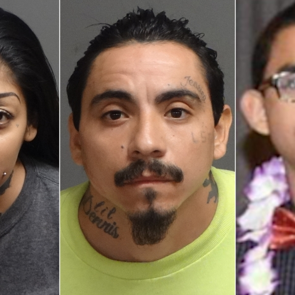 Jessica Grajeda, left, and George Luis Almaraz, center, appear in photos released by the Pomona Police Department on June 3, 2021. George Almaraz is seen an undated photo provided to KTLA by his family.
