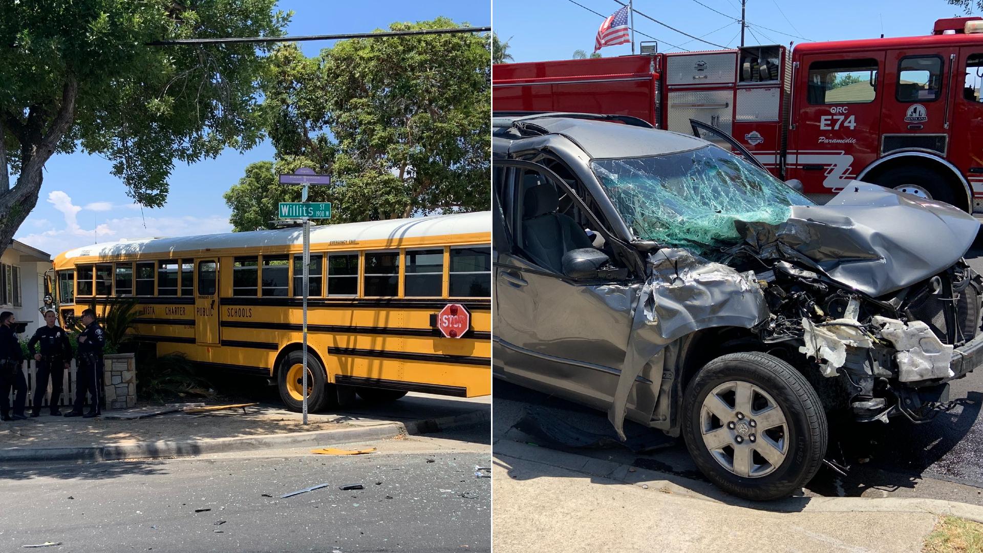 A minivan and school bus are seen following a collision in Santa Ana on June 28, 2021, in photos released by the Santa Ana Police Department.
