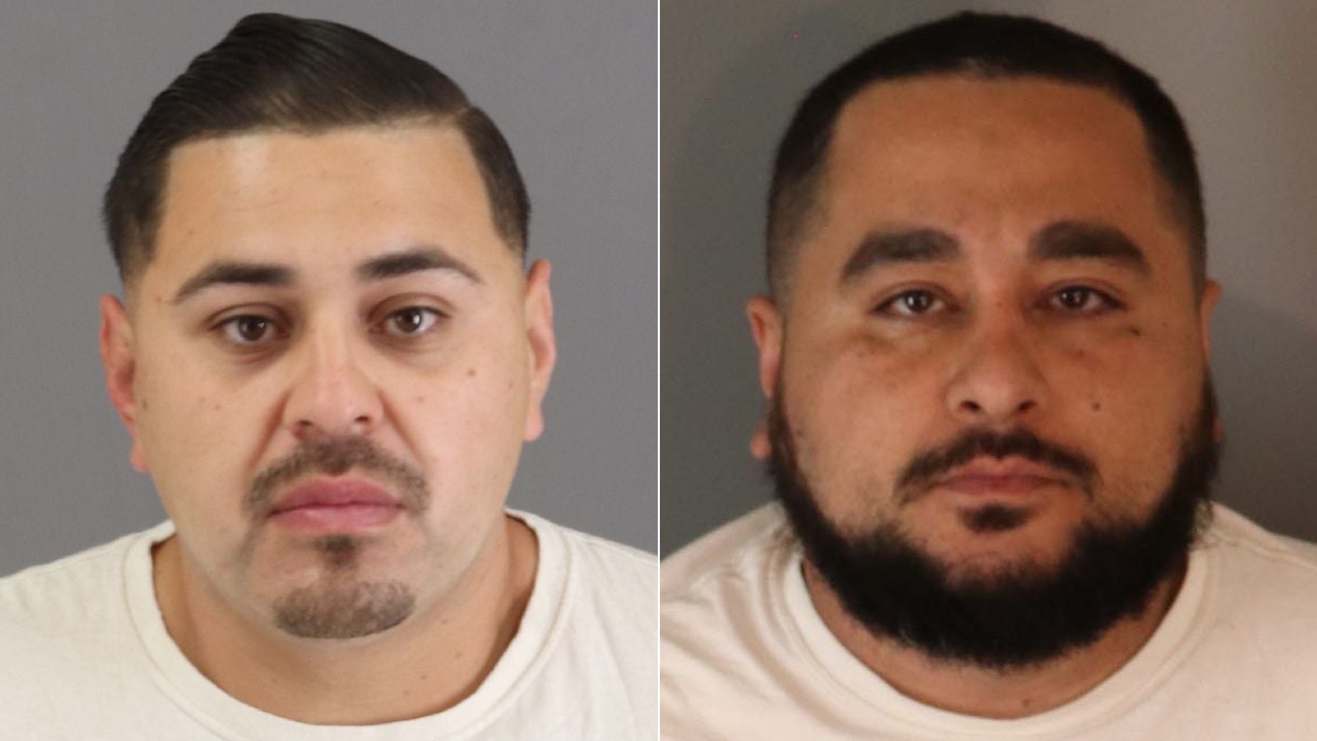 Joel Lopez, left, and Edward Padilla Jr. are seen in booking photos released June 18, 2021, by the Riverside County District Attorney's Office.