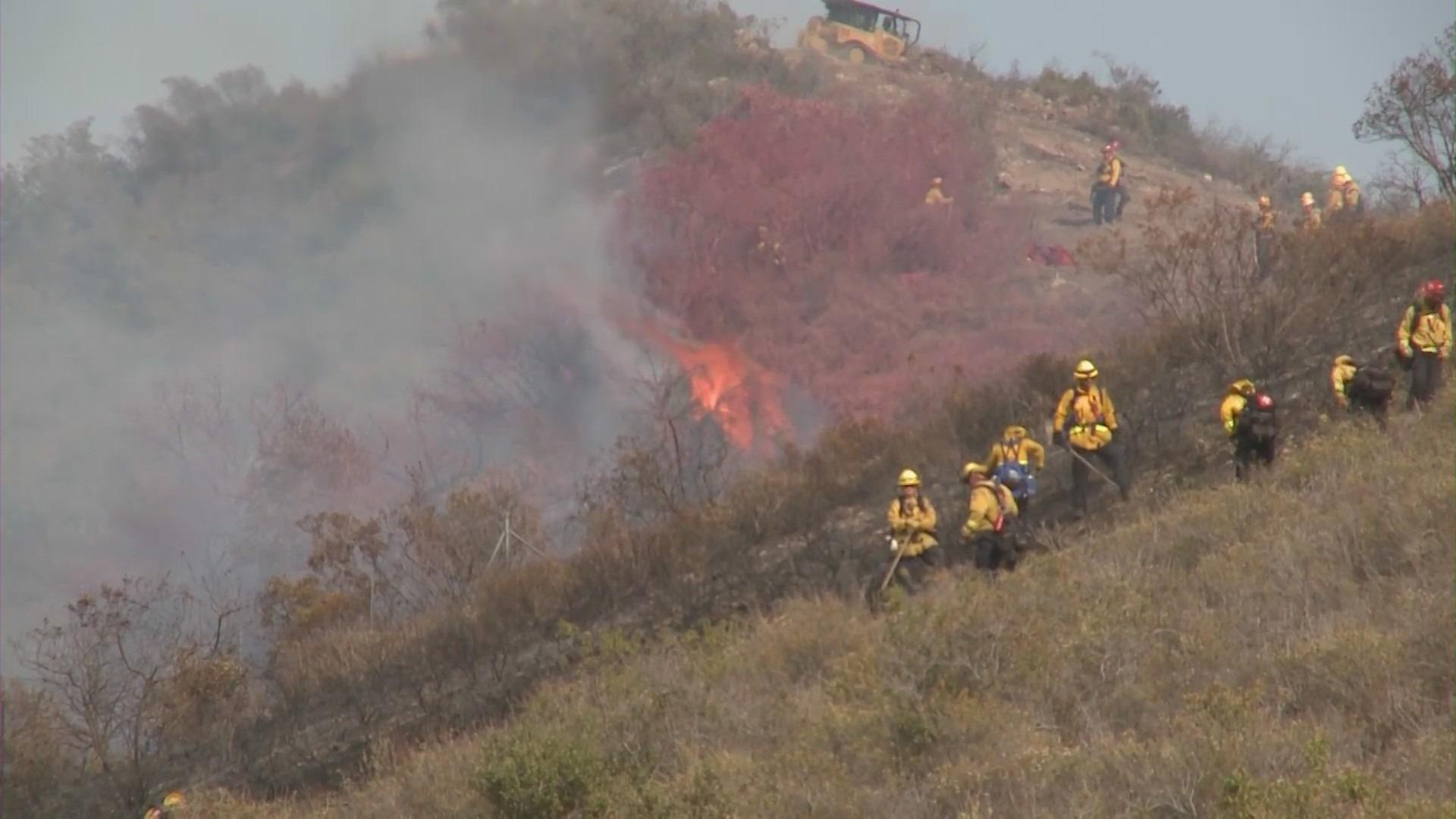 A small brush fire burns along the 73 Freeway in Laguna Beach on June 16, 2021. (KTLA)