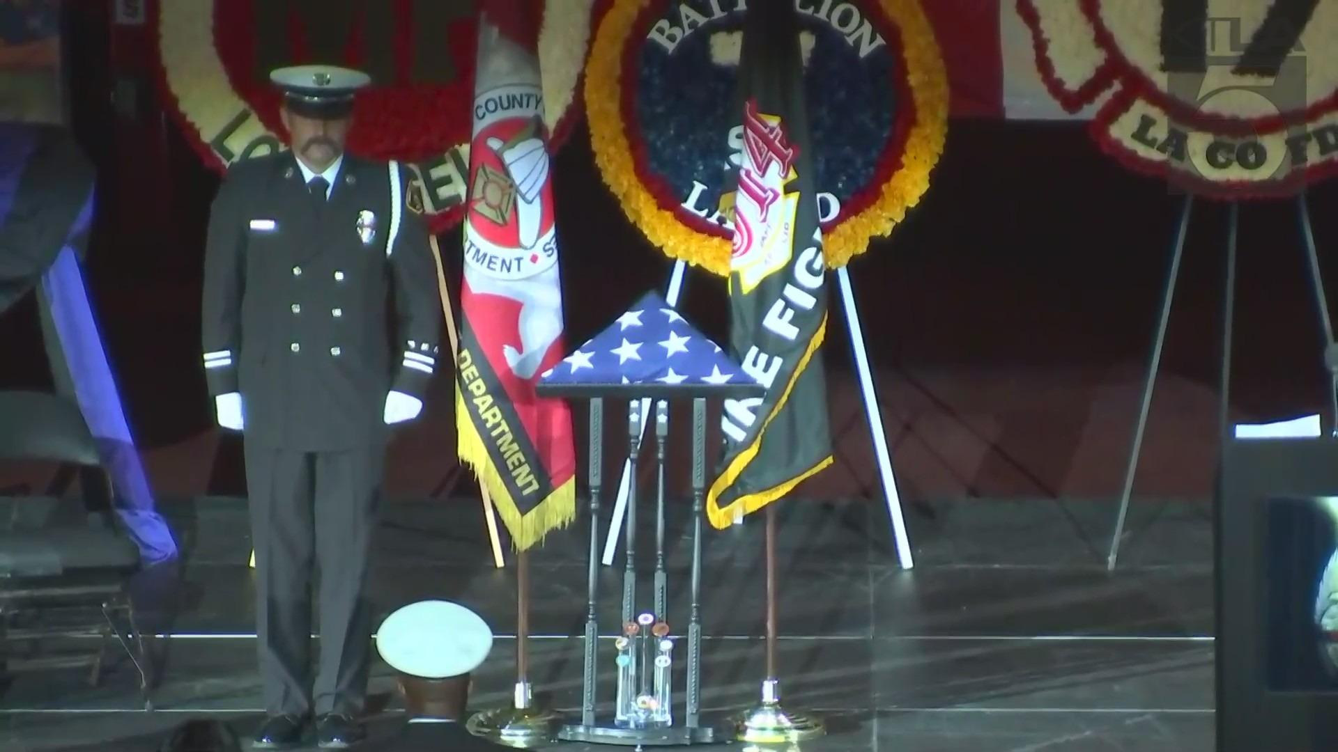 Tory Carlon is honored prior to his memorial on June 17, 2021. (KTLA)