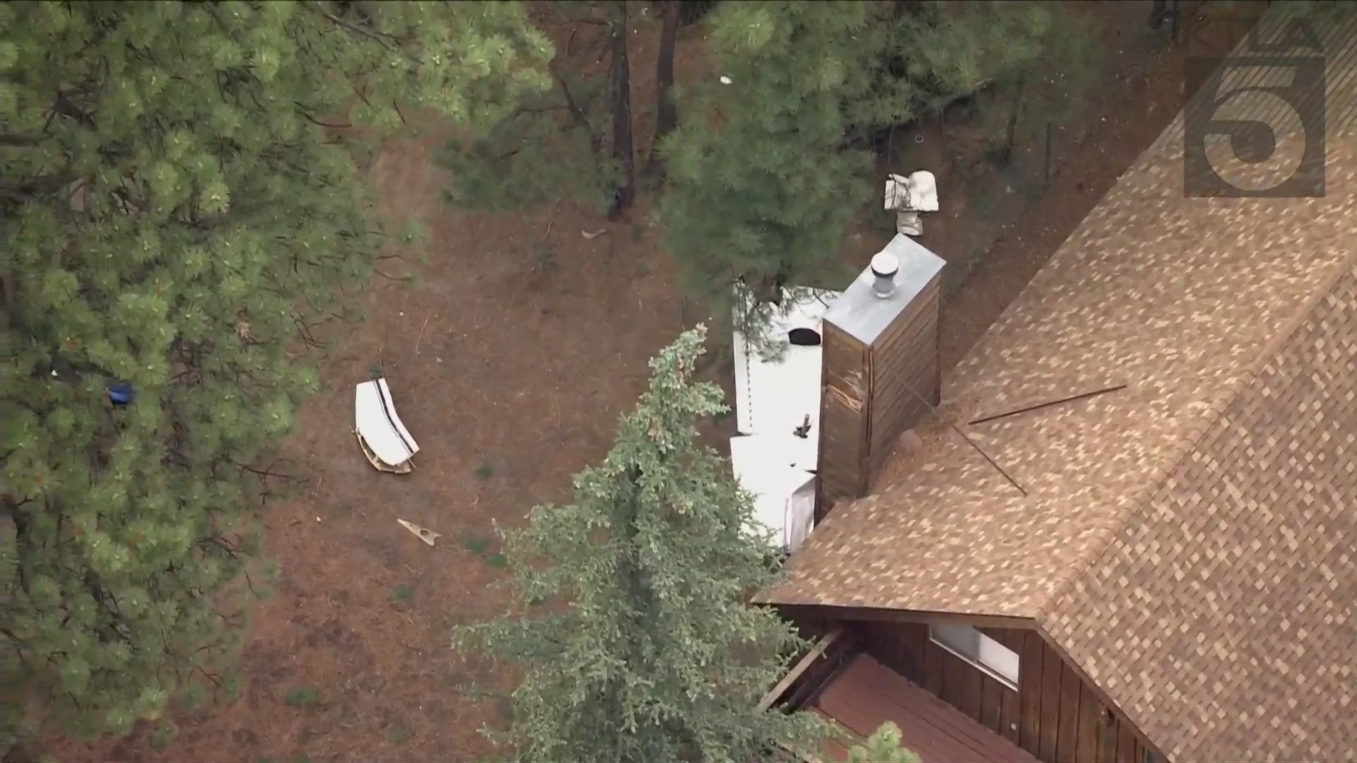 Two people were seriously injured when a plane they were on crashed in Big Bear and caught fire on June 22,2021, officials said. (KTLA)