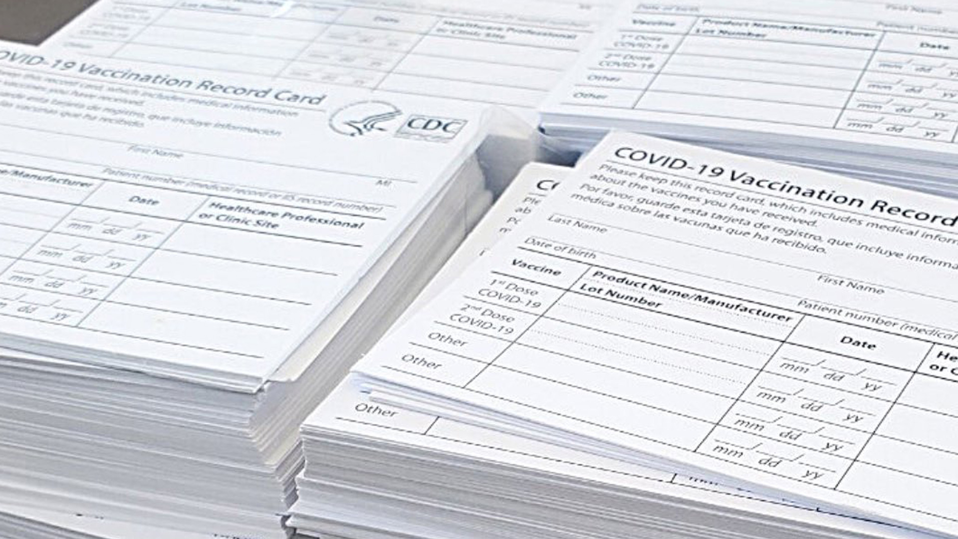 Blank COVID-19 vaccine cards are seen in a photo released by the La Verne Police Department on June 8, 2021.
