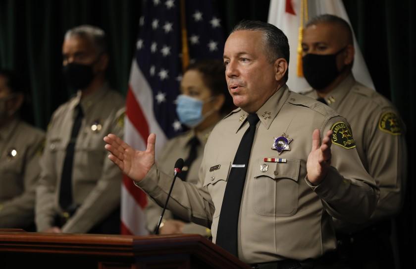 Los Angeles County Sheriff Alex Villanueva speaks to reporters in May 2021. (Al Seib / Los Angeles Times)