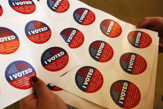 I Voted stickers are seen in this undated file photo. (Al Seib/Los Angeles Times)