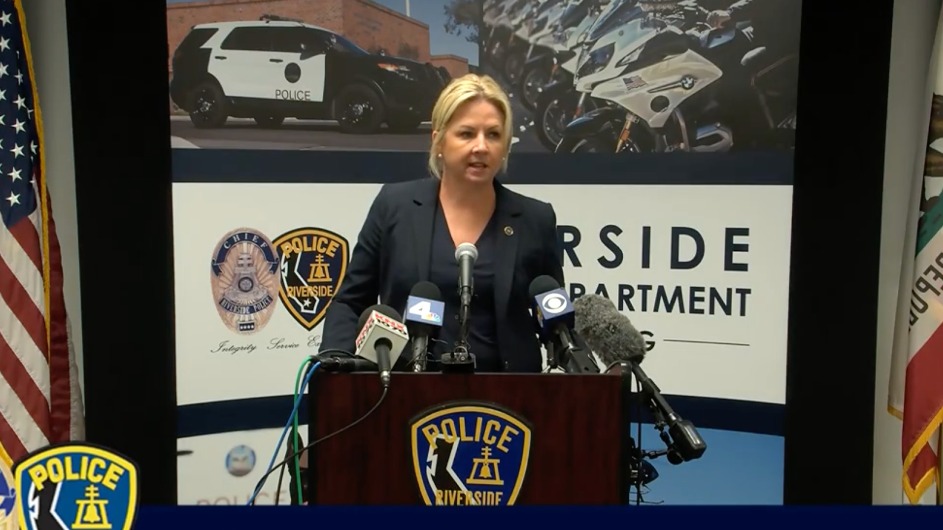 The screen capture shows Kristi Koons Johnson, FBI Assistant Director in Charge, speaking during a live streamed press conference at the Riverside Police Department on June 9, 2021.