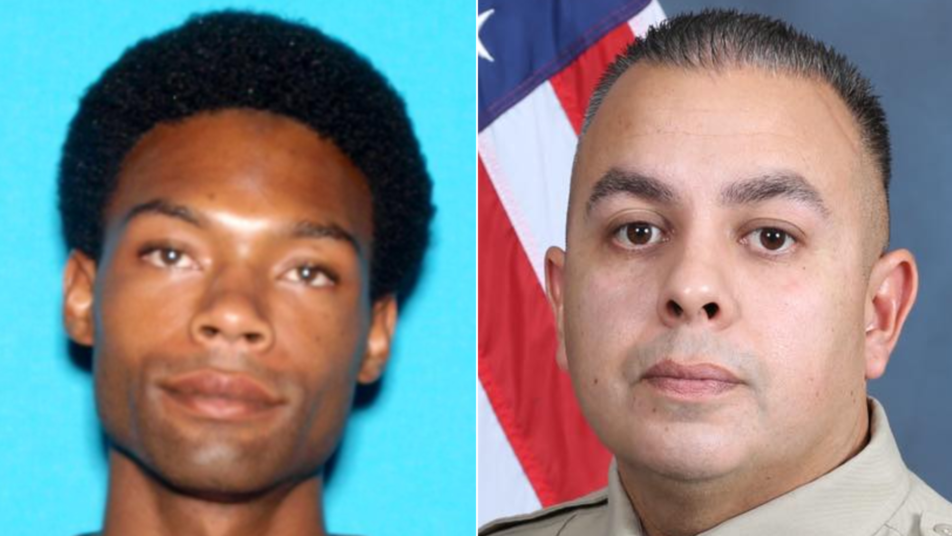 Bilal Shabazz, left, and Sgt. Dominic Vaca are seen in undated photos released by the San Bernardino County Sheriff's Department.