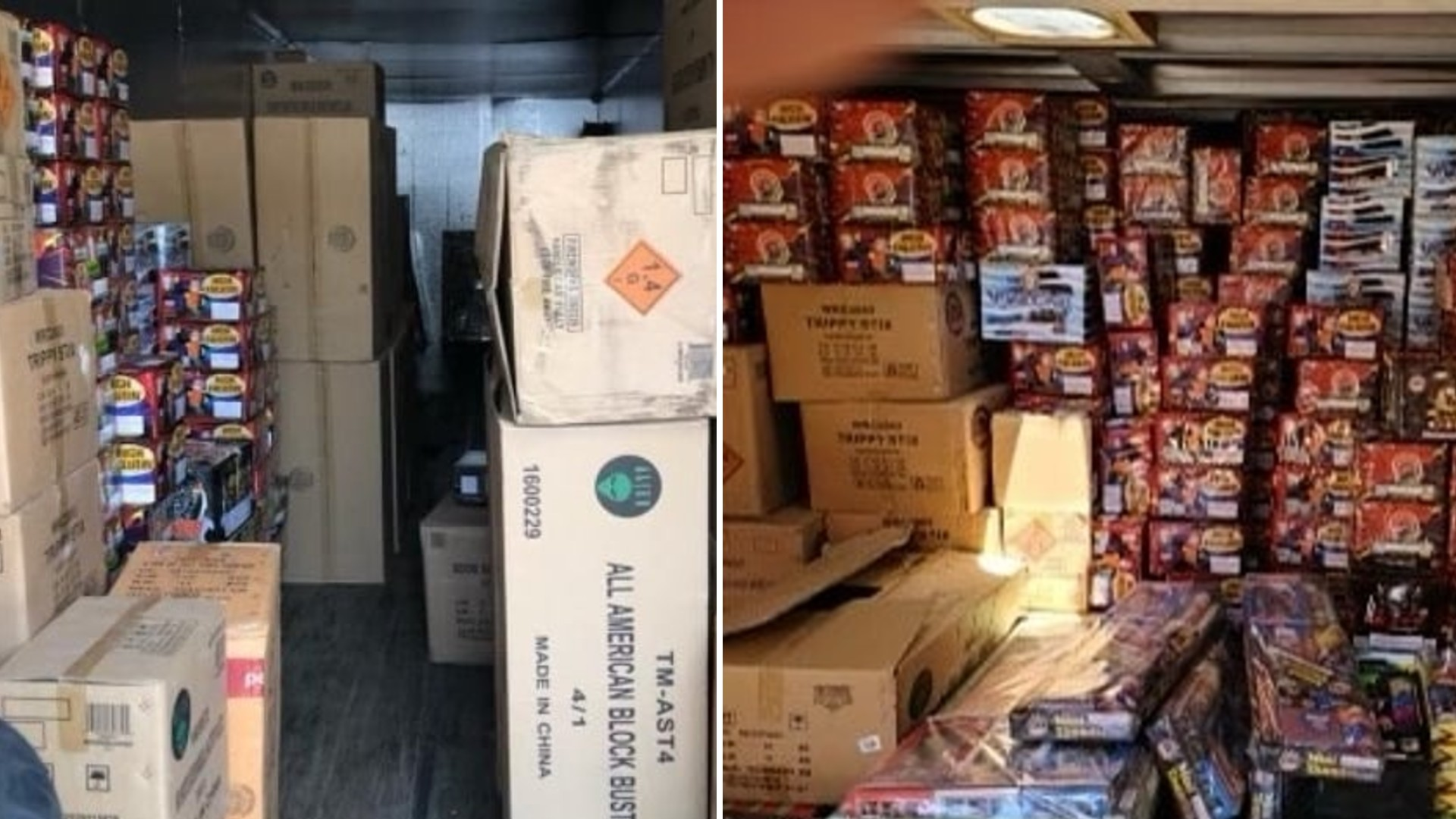 The Los Angeles Police Department shared photos on July 1, 2021, of illegal fireworks seized from a shipping container in downtown L.A.