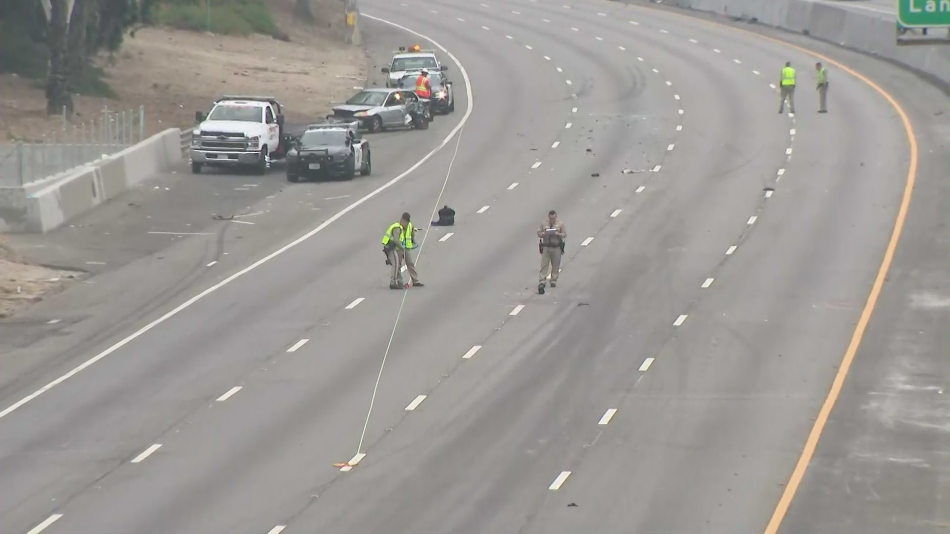 A stretch of the 101 Freeway was partially closed through the Cahuenga Pass on
