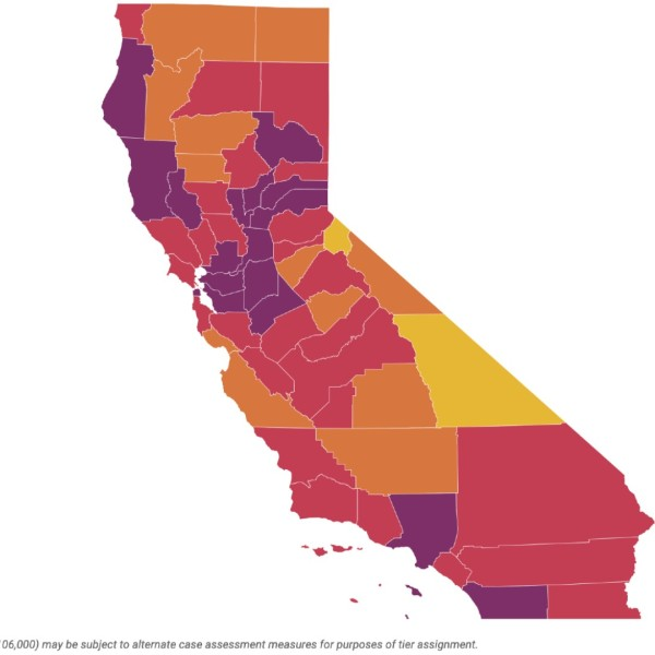 Under California's old blueprint for reopening, L.A. County and many others would be in the most restrictive tier as of July 20, 2021. This map shows a rolling average of daily cases for the past week. We've decided to map the 7-day average instead of new cases reported in a day, as many local health departments have shifted their focus to vaccine reporting and no longer report case counts every day of the week.