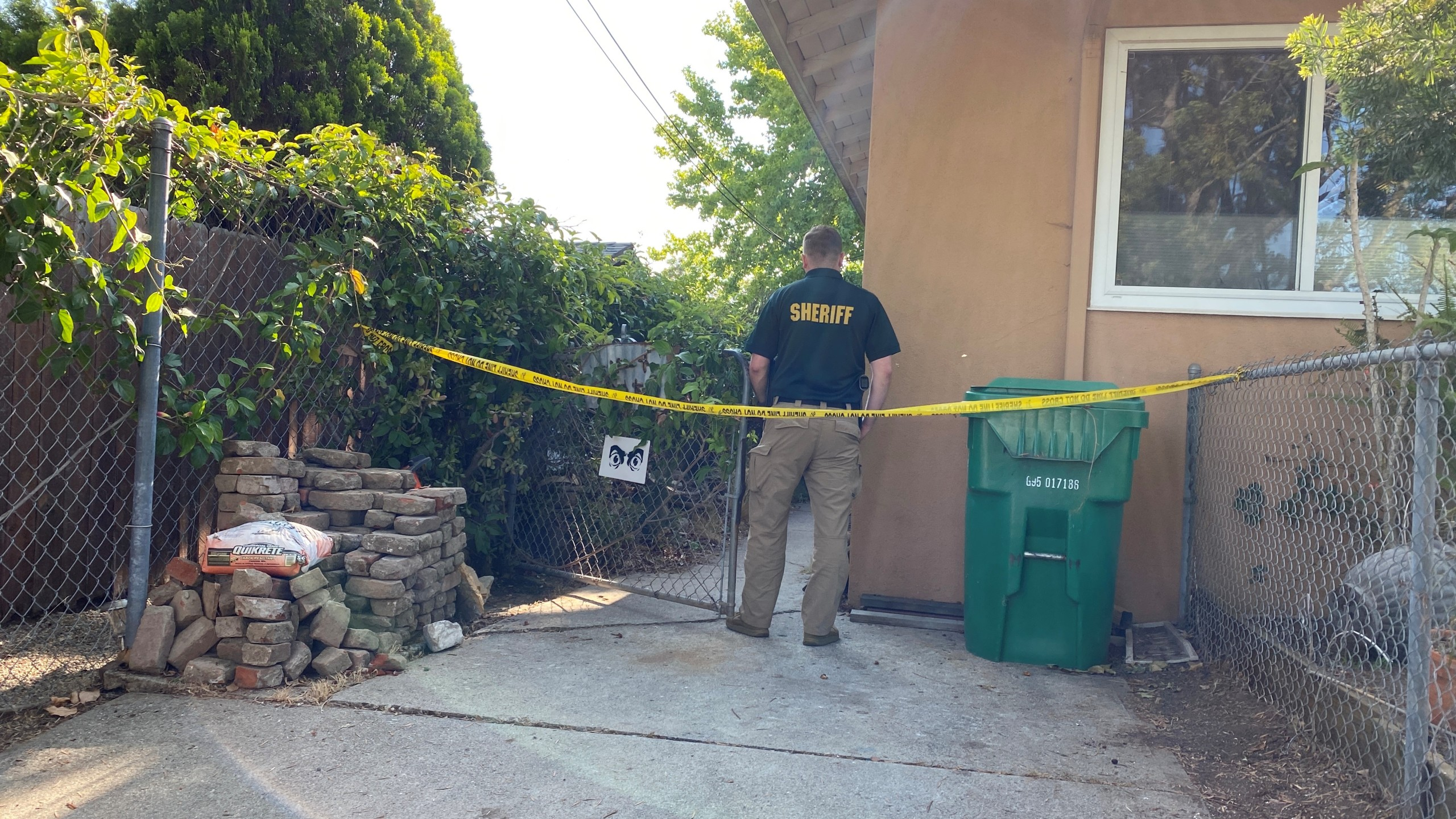 A Santa Barbara County sheriff's official responds to the scene of a homicide on July 15, 2021 in this photo provided by the agency.
