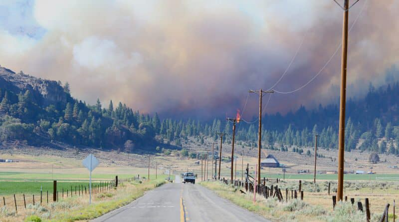 The Beckwourth Complex Fire is seen in a photo released July 6, 2021, by the Plumas County Sheriff's Office.