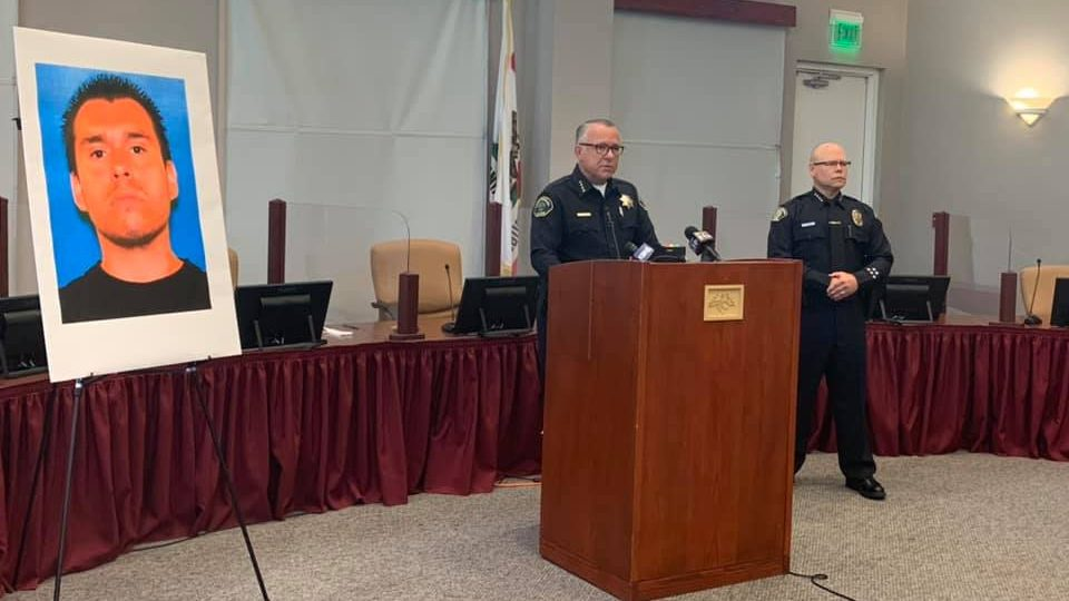 Paso Robles police officials appear at a press conference to discuss a fatal police shooting on July 6, 2021, in an image released by the Police Department.