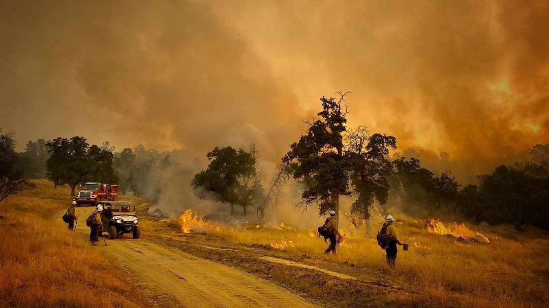 Firefighters battle the River Fire in Mariposa County in this photo released July 12, 2021, by the Santa Barbara County Fire Department.