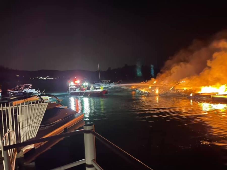 Multiple boats burn on Lake Arrowhead on July 16, 2021. (San Bernardino County Fire)