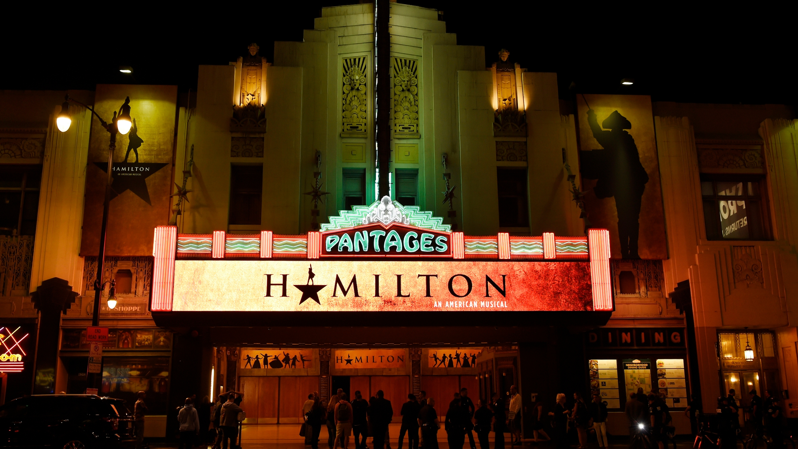 """This Aug. 16, 2017 file photo shows The Pantages Theatre on the opening night of the Los Angeles run of """"Hamilton: An American Musical"""" in Los Angeles. (Chris Pizzello/Invision/AP, File)"""