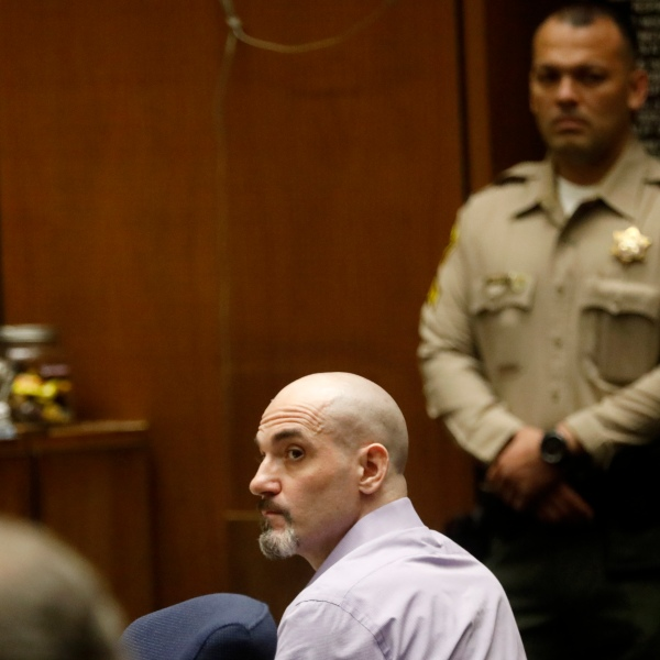 In this May 29, 2019, file photo, Michael Gargiulo listens to the testimony of actor Ashton Kutcher during Gargiulo's murder trial at Los Angeles Superior Court. Gargiulo has pleaded not guilty to two counts of murder and an attempted-murder charge stemming from attacks in the Los Angeles area between 2001 and 2008, including the death of Kutcher's former girlfriend, 22-year-old Ashley Ellerin. A judge is expected to give a death sentence Friday, Feb. 28, 2020. (Genaro Molina/Los Angeles Times via AP, Pool, File)