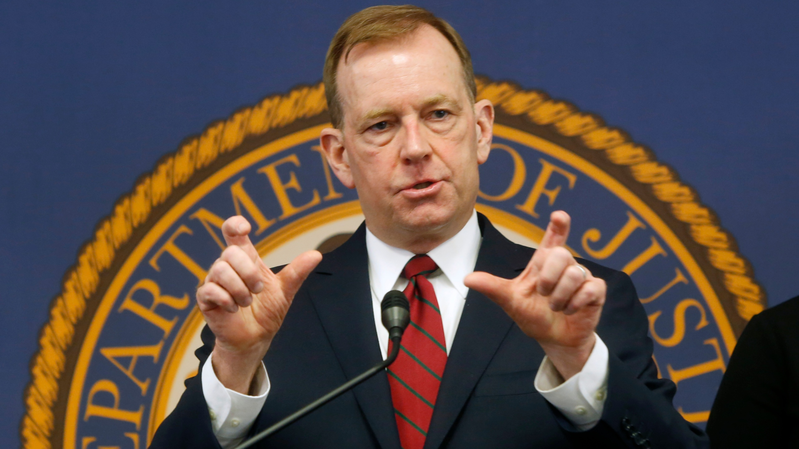 McGregor Scott, the U.S. Attorney for the Eastern District of California, answers questions at a news conference in Sacramento on Jan. 24, 2020. (Rich Pedroncelli / Associated Press)