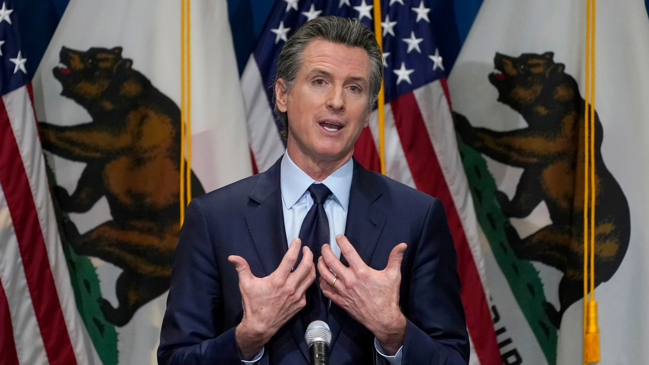 In this Jan. 8, 2021, file photo, California Gov. Gavin Newsom gestures during a news conference in Sacramento, Calif. California on Thursday, July 1, 2021 scheduled a Sept. 14 recall election that could drive Democratic Gov. Gavin Newsom from office, the result of a political uprising largely driven by angst over state coronavirus orders that shuttered schools and businesses and upended life for millions of Californians. (AP Photo/Rich Pedroncelli, Pool, File)