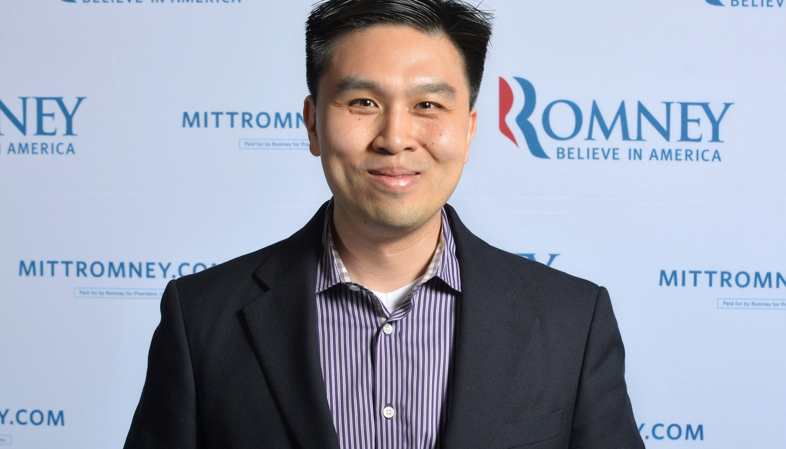 In this June 1, 2012 file photo, then-campaign policy director Lanhee Chen is photographed at the Mitt Romney campaign's Boston headquarters. Chen, a longtime Republican policy adviser, announced Tuesday, July 6, 2021, he's running to succeed Betty Yee, a Democrat who cannot run again, as state controller. (AP Photo/Josh Reynolds, File)