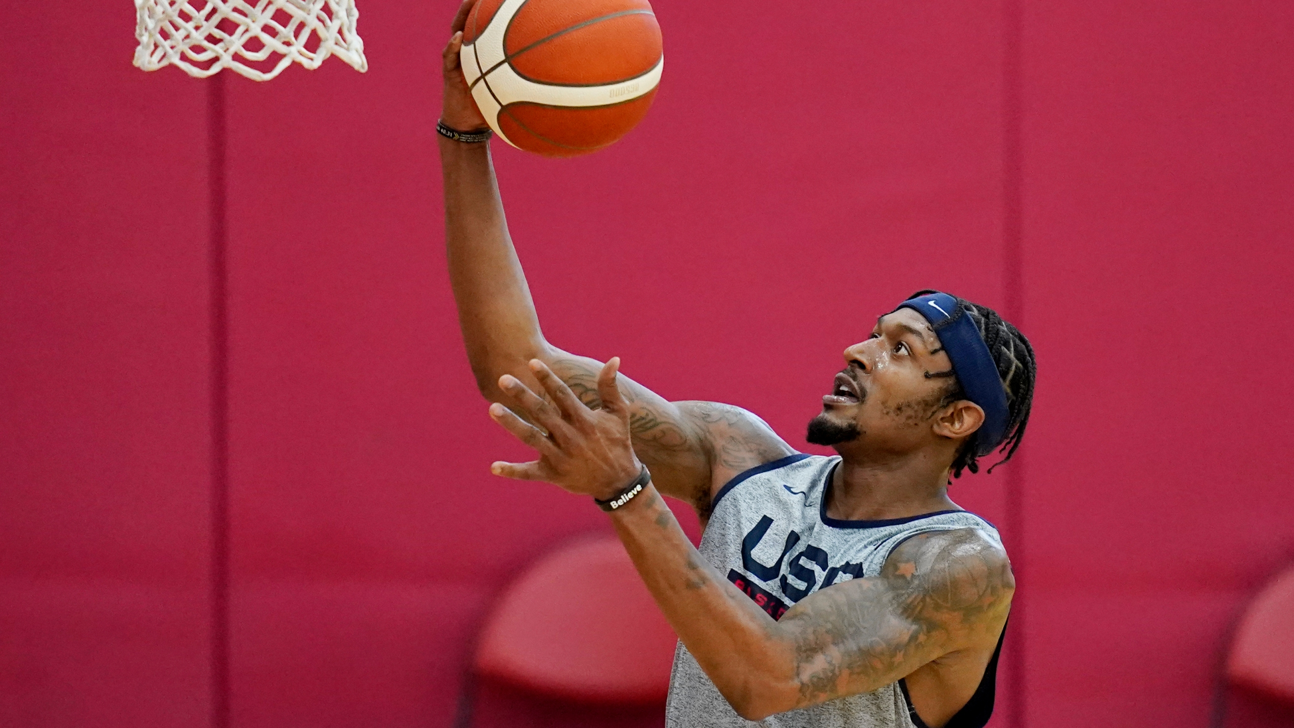 Bradley Beal shoots during practice for USA Basketball on July 6, 2021, in Las Vegas. (AP Photo/John Locher)