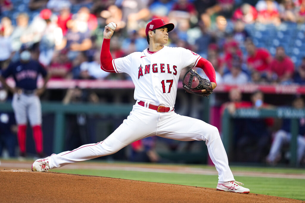 Los Angeles Angels starting pitcher Shohei Ohtani (17) throws during the first inning of a baseball game against the Boston Red Sox Tuesday, July 6, 2021, in Anaheim, Calif. (AP Photo/Ashley Landis)