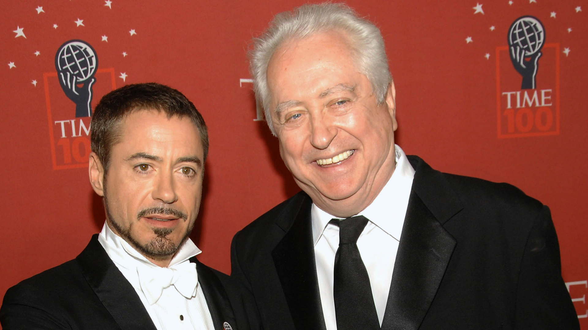 Actor Robert Downey Jr., left, and his father Robert Downey Sr. arrive at Time's 100 Most Influential People in the World Gala in New York on May 8, 2008. Downey Sr., the accomplished countercultural filmmaker, actor and father of superstar Robert Downey Jr., has died. He was 85. Downey Jr. wrote on Instagram that his father died late Tuesday in his sleep at home in New York. He had Parkinson's disease for more than five years. (AP Photo/Evan Agostini, File)