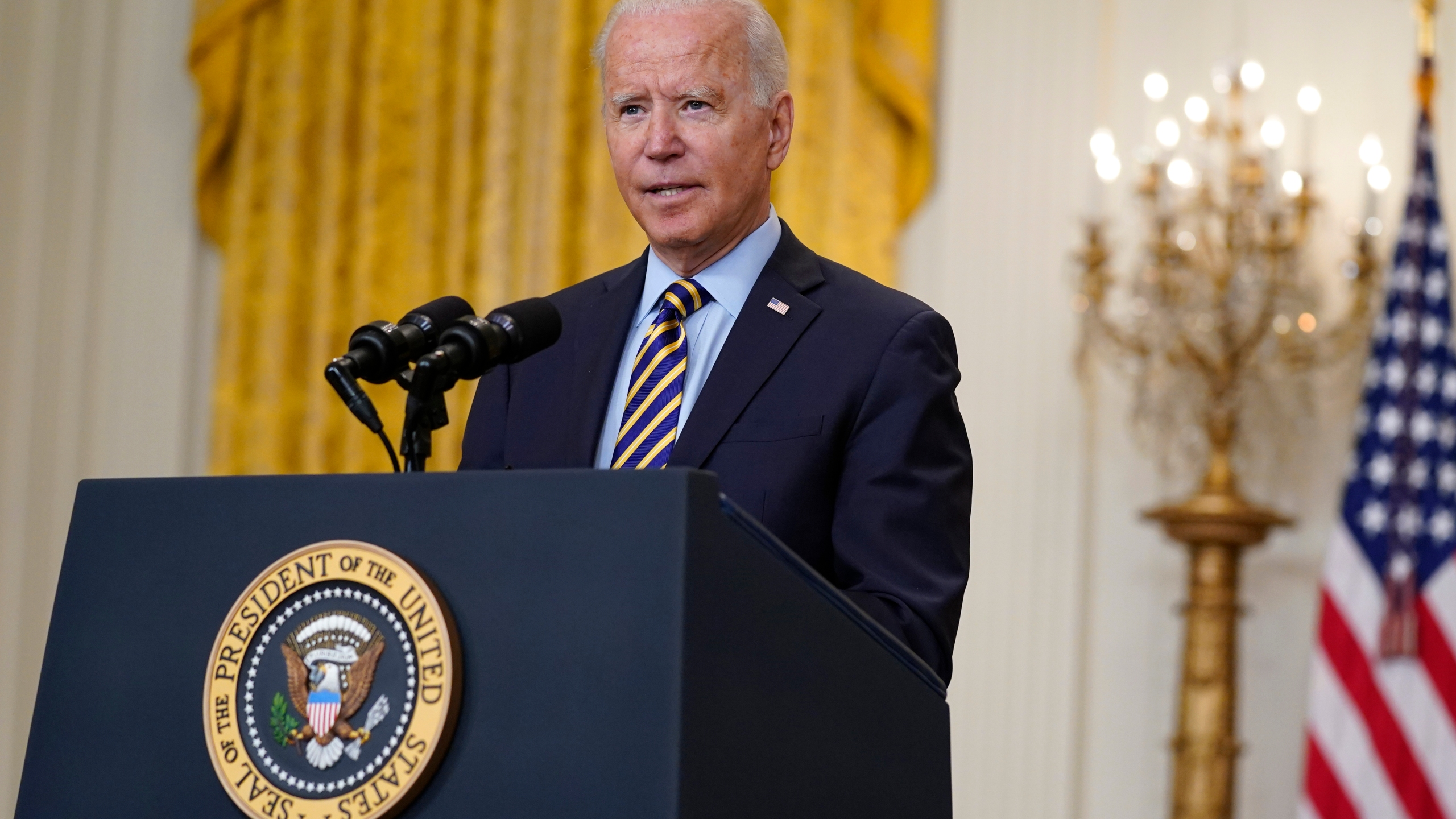 President Joe Biden speaks about the American troop withdrawal from Afghanistan in the East Room of the White House on July 8, 2021. (Evan Vucci/Associated Press)