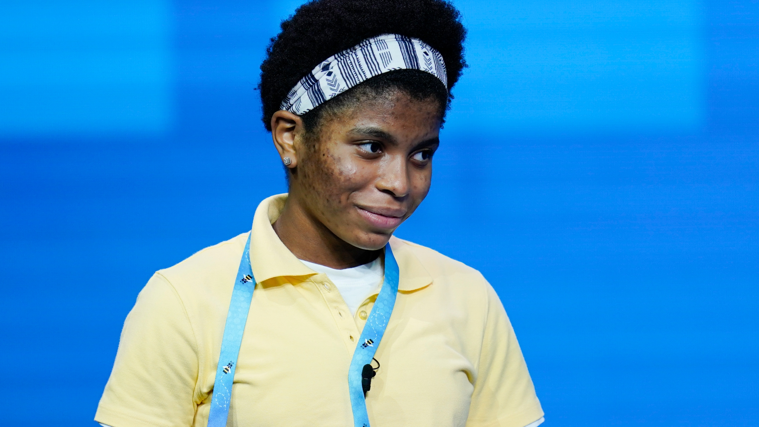 Zaila Avant-garde, 14, from Harvey, Louisiana reacts after correctly spelling a word during the finals of the 2021 Scripps National Spelling Bee at Disney World on July 8, 2021, in Lake Buena Vista, Fla. (AP Photo/John Raoux)