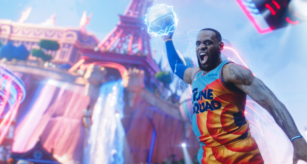 """This image released by Warner Bros. Entertainment shows Lebron James in a scene from """"Space Jam: A New Legacy."""" (Warner Bros. Entertainment via AP)"""