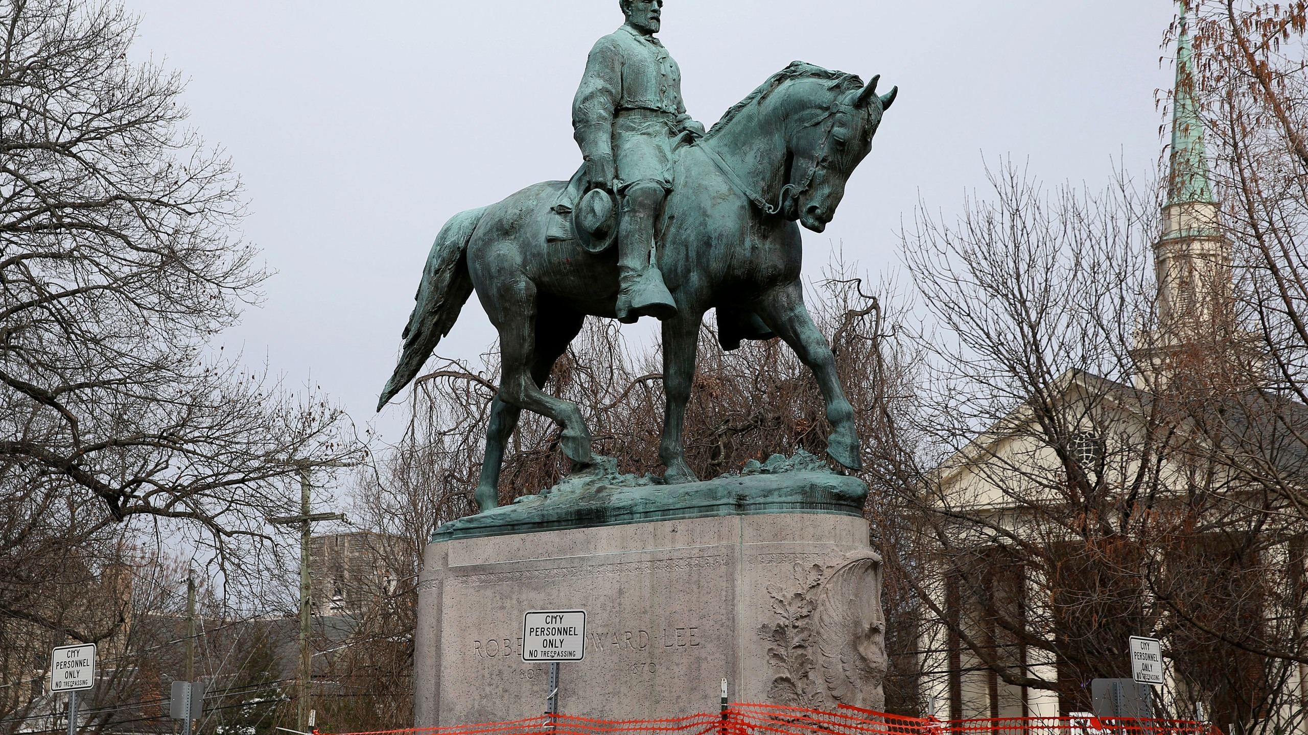 The statue of Robert E. Lee is seen uncovered in Emancipation Park in Charlottesville, Va., on Feb. 28, 2018. (Zack Wajsgras/The Daily Progress via Associated Press)