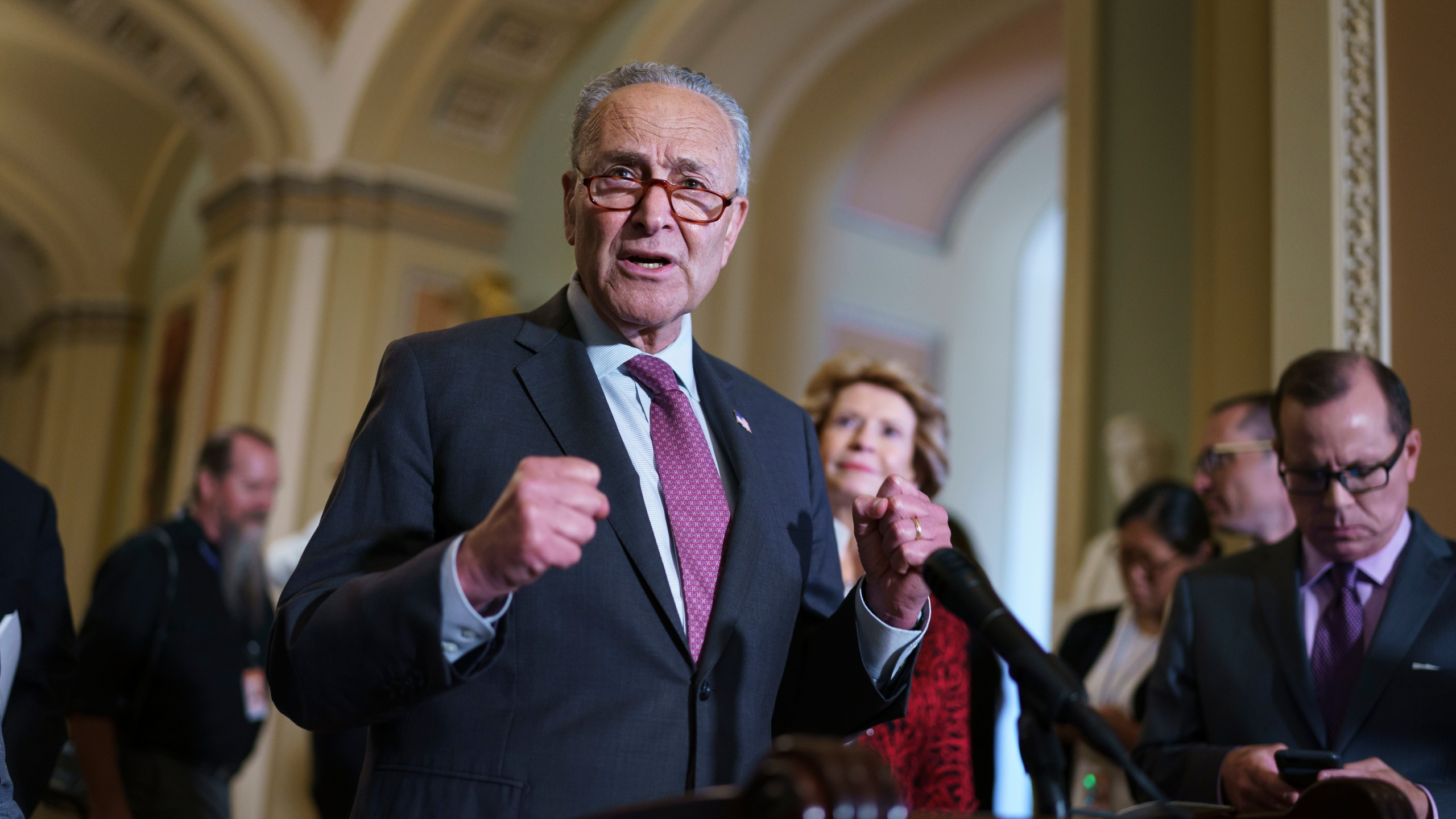 Senate Majority Leader Chuck Schumer, D-N.Y., speaks to reporters before meeting with Democratic members of the Texas Legislature who are trying to kill a Republican bill in Austin that would make it harder to vote in the Lone Star State, at the Capitol in Washington on July 13, 2021. (AP Photo/J. Scott Applewhite)