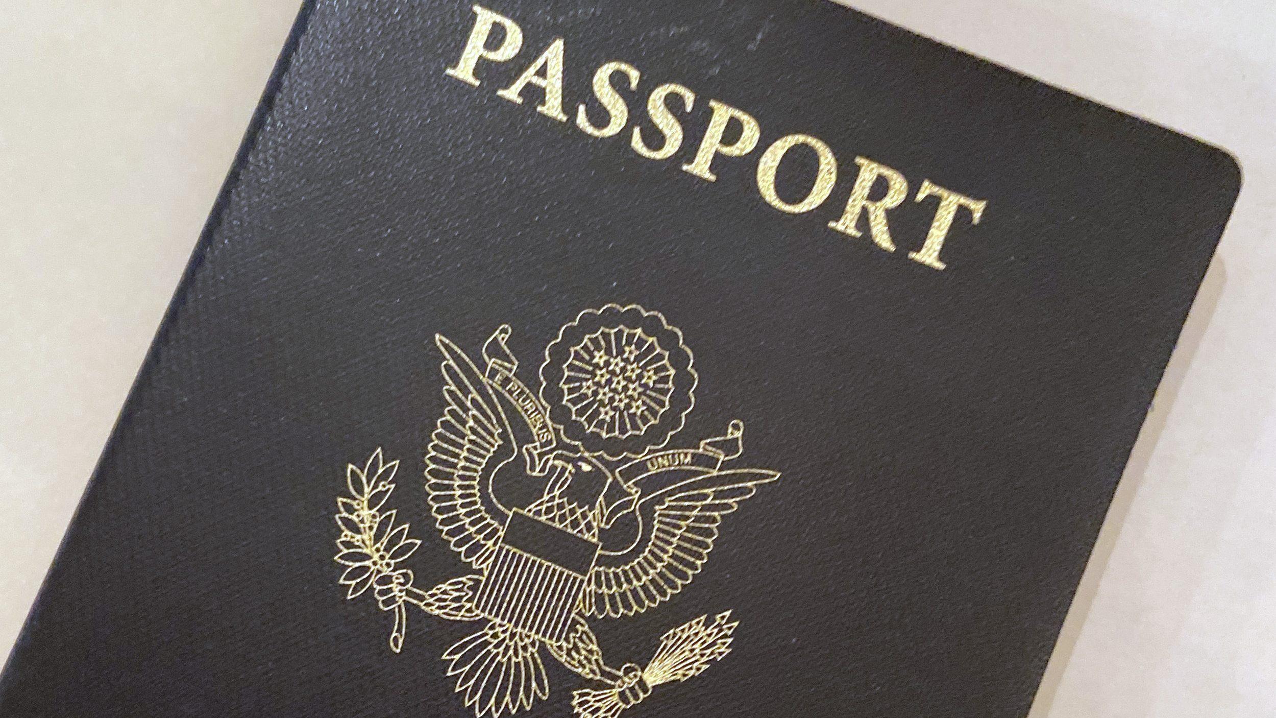 A U.S. Passport cover is seen in Washington on May 25, 2021. (Eileen Putman / Associated Press)