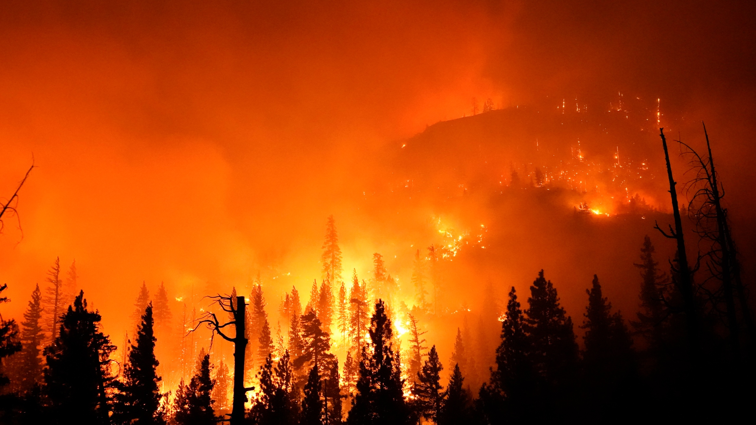 In this Sept. 6, 2020, file photo, the Creek Fire burns in the Sierra National Forest near Big Creek, Calif. (AP Photo/Marcio Jose Sanchez, File)