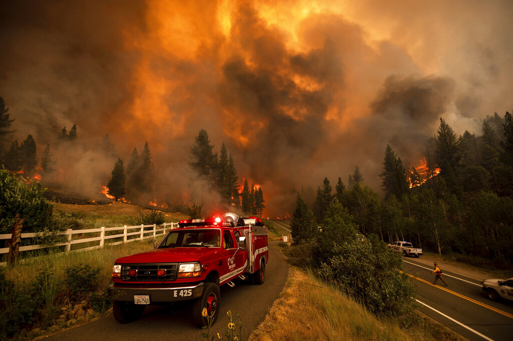 Firefighters battle the Tamarack Fire in the Markleeville community of Alpine County, Calif., on Saturday, July 17, 2021. (AP Photo/Noah Berger)