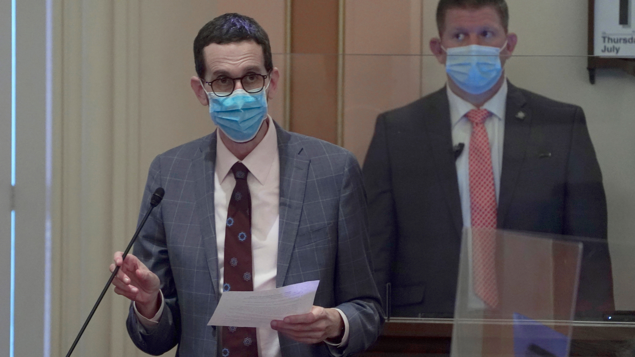 State Sen. Scott Wiener, D-San Francisco, wears a face mask as he speaks on the floor of the Senate in Sacramento, Calif., on July 15, 2021. (AP Photo/Rich Pedroncelli)