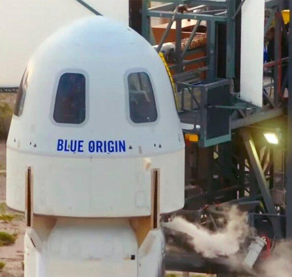 The passengers of the Blue Origin enter the capsule near Van Horn, Texas, Tuesday, July 20, 2021. (Blue Origin via AP)