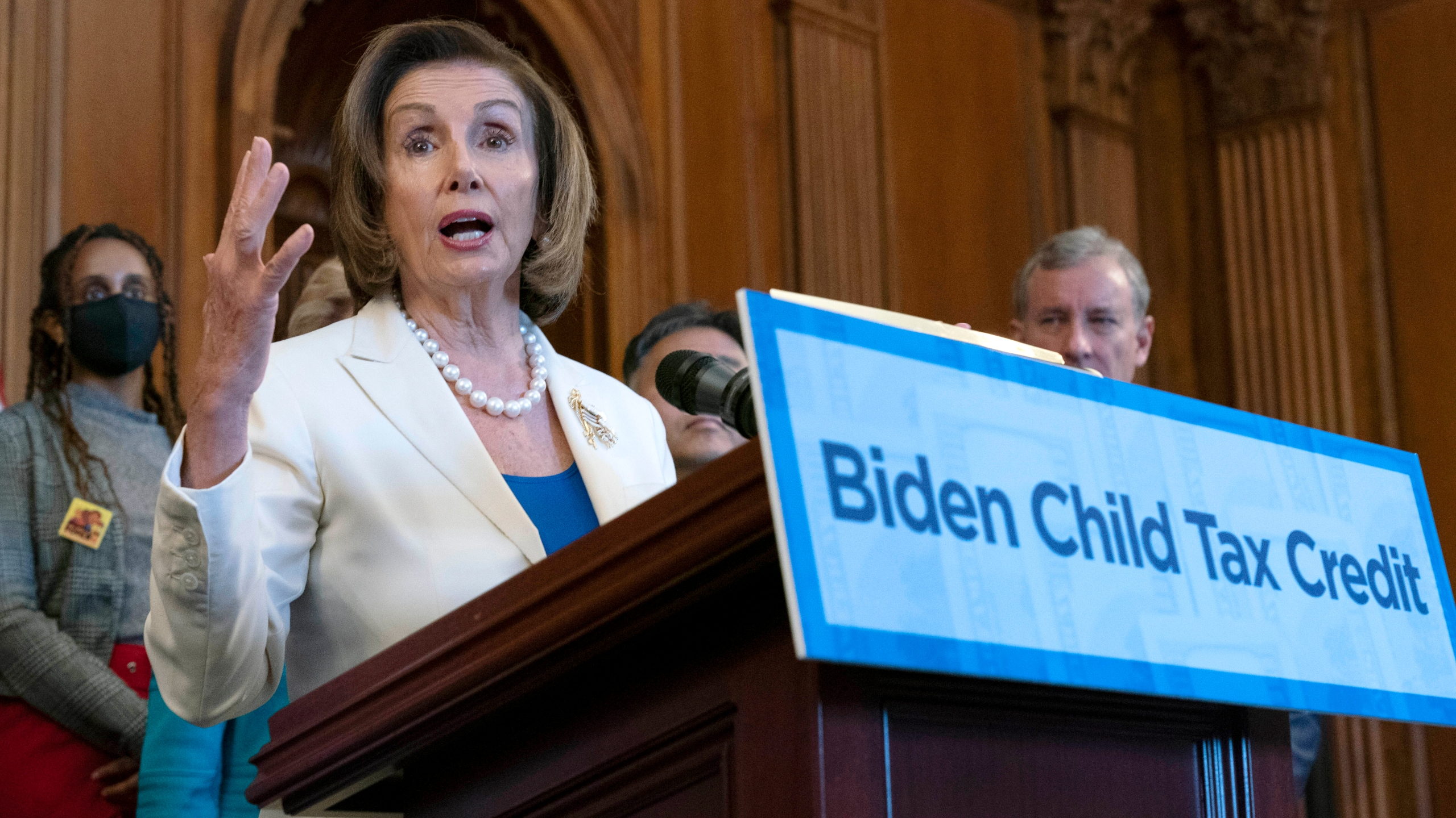 Speaker of the House Nancy Pelosi, D-Calif., speaks during Biden Child Tax Credit news conference, on Capitol Hill in Washington, Tuesday, July 20, 2021. (AP Photo/Jose Luis Magana)