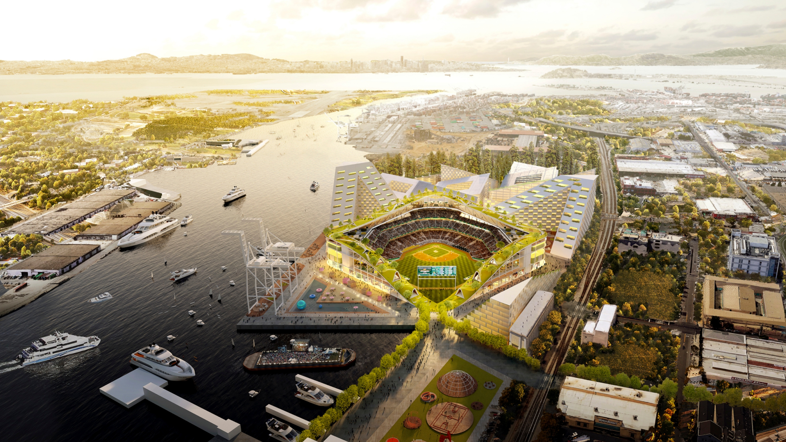 This rendering provided by the Oakland Athletics and BIG - Bjarke Ingels Group shows an elevated view of the baseball club's proposed new at Howard Terminal in Oakland. The Oakland City Council approved preliminary terms for a new $12 billion waterfront ballpark project for the team on July 20, 2021, but it's not clear if the 6-1 vote will be enough to keep the A's at the negotiating table instead of leaving the city. (Courtesy of BIG - Bjarke Ingels Group/Oakland Athletics via AP, Fil
