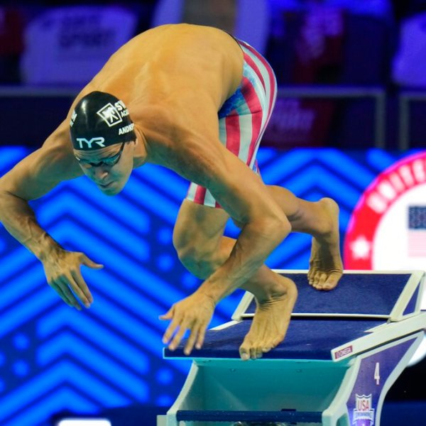 In this June 19, 2021, file photo, Michael Andrew participates in the men's 50 freestyle during wave 2 of the U.S. Olympic Swim Trials in Omaha, Neb. (AP Photo/Jeff Roberson, File)