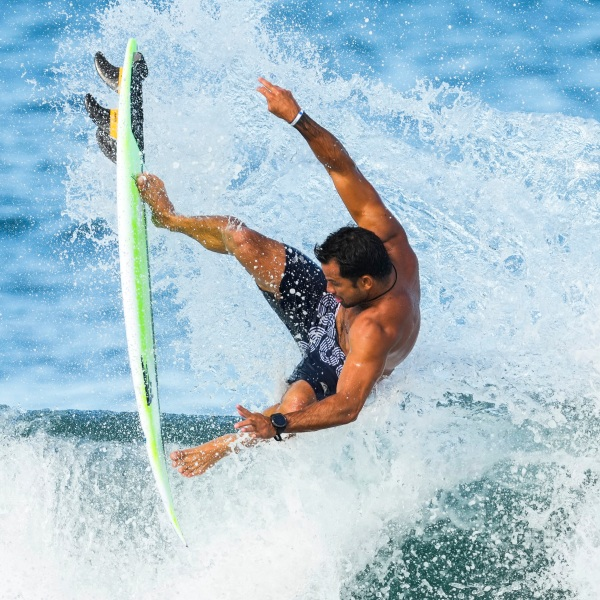 France's Michel Bourez goes airborne as he rides a wave during a training session at the 2020 Summer Olympics, Friday, July 23, 2021, at Tsurigasaki beach in Ichinomiya, Japan. (AP Photo/Francisco Seco)France's Michel Bourez goes airborne as he rides a wave during a training session at the 2020 Summer Olympics, Friday, July 23, 2021, at Tsurigasaki beach in Ichinomiya, Japan. (AP Photo/Francisco Seco)