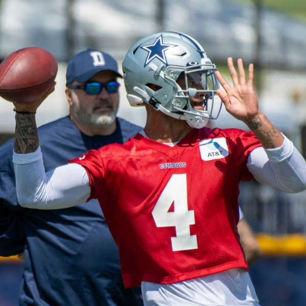 Dallas Cowboys quarterback Dak Prescott throws a pass as coach Mike McCarthy watches during the NFL football team's training camp in Oxnard, Calif., in this Thursday, July 22, 2021, file photo. (AP Photo/Michael Owen Baker, File)