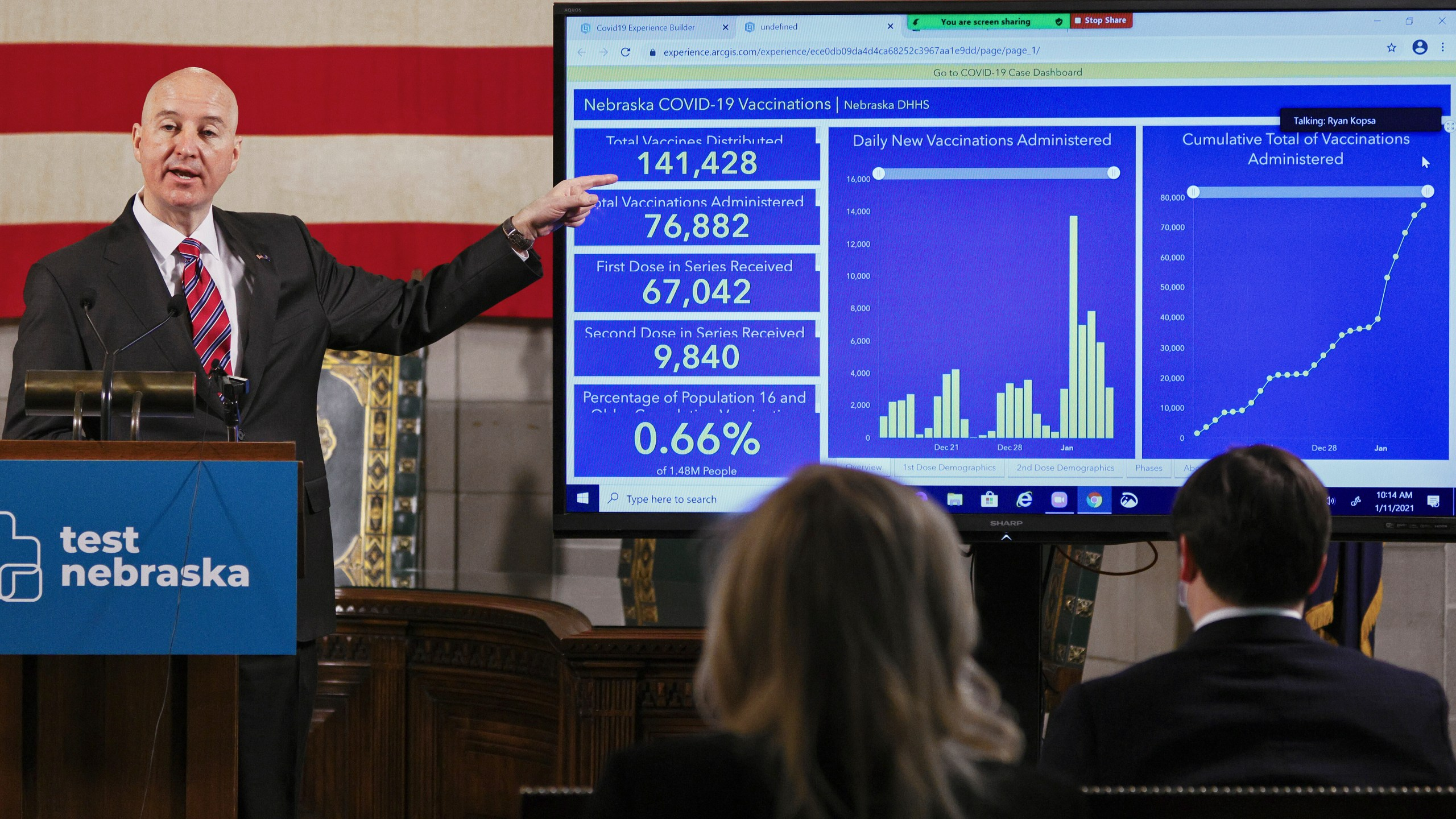 In this Jan. 11, 2021 file photo, Nebraska Gov. Pete Rickets points to vaccination statistics during a news conference in Lincoln, Neb. (AP Photo/Nati Harnik, File)