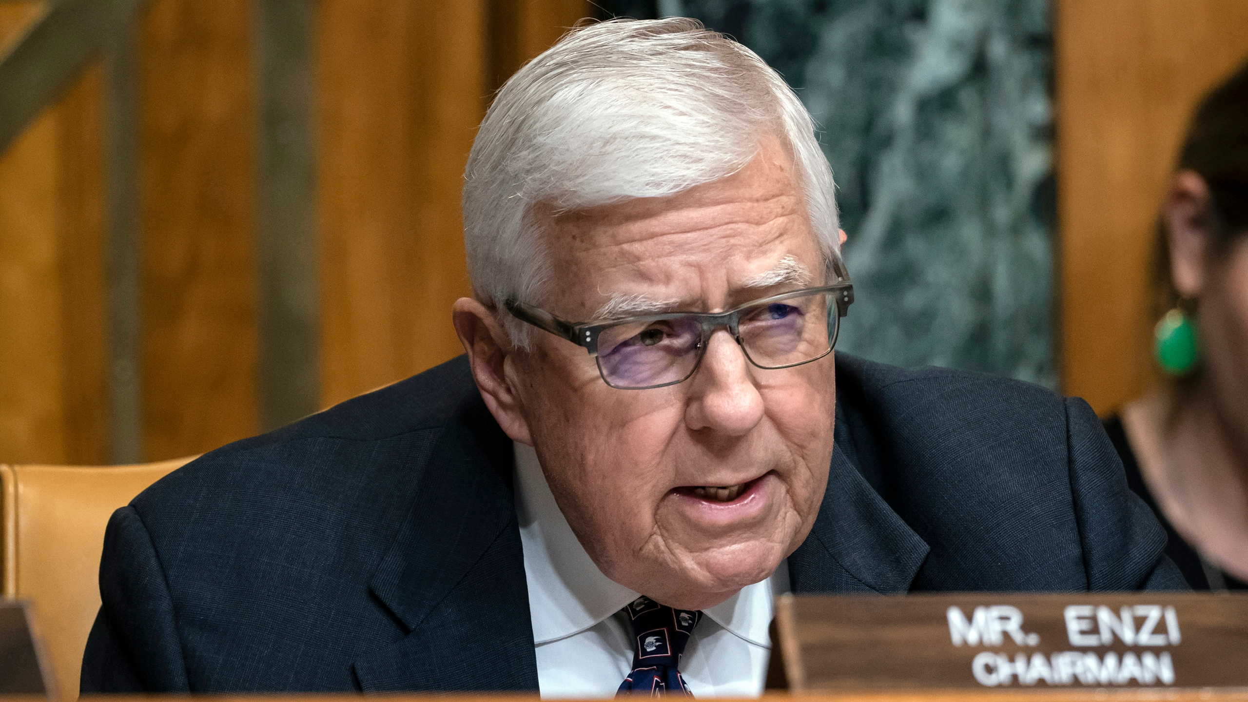 In this March 27, 2019, file photo, Sen. Mike Enzi, R-Wyo., chairman of the Senate Budget Committee, makes an opening statement on the fiscal year 2020 budget resolution, on Capitol Hill in Washington. Recently retired U.S. Sen. Mike Enzi of Wyoming died Monday, July 26, 2021. He was 77 years old. (AP Photo/J. Scott Applewhite, File)