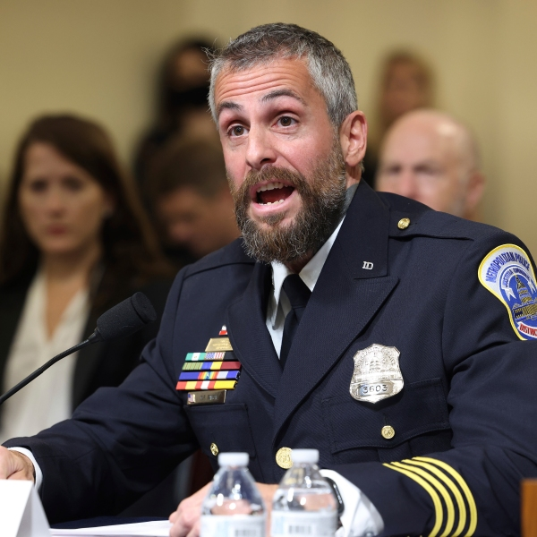 Washington Metropolitan Police Department officer Michael Fanone testifies during the House select committee hearing on the Jan. 6 attack on Capitol Hill in Washington, Tuesday, July 27, 2021. (Jim Lo Scalzo/Pool via AP)