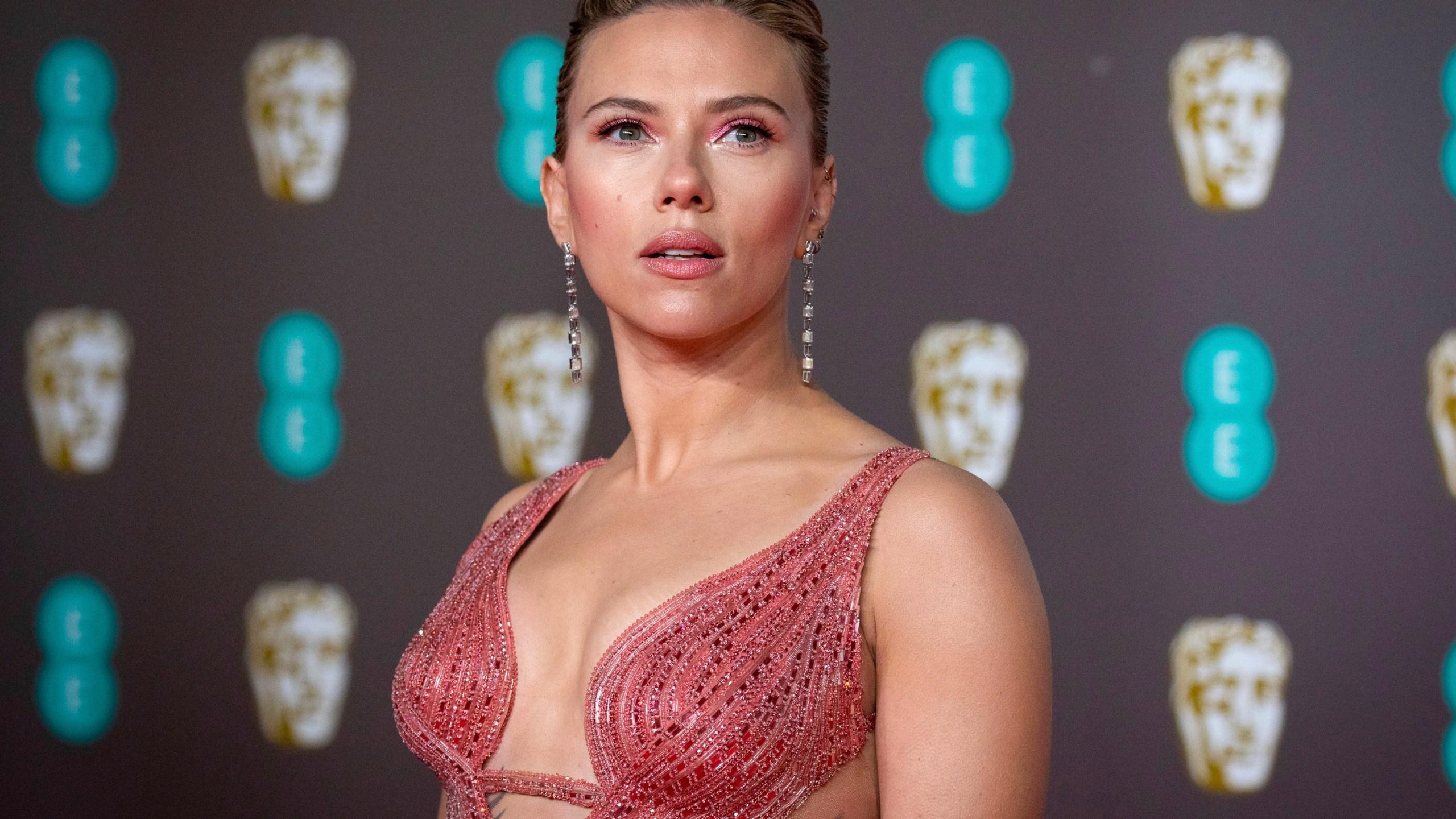Scarlett Johansson arrives at the Bafta Film Awards, in central London on Feb. 2 2020. (Vianney Le Caer/Invision/Associated Press, File)