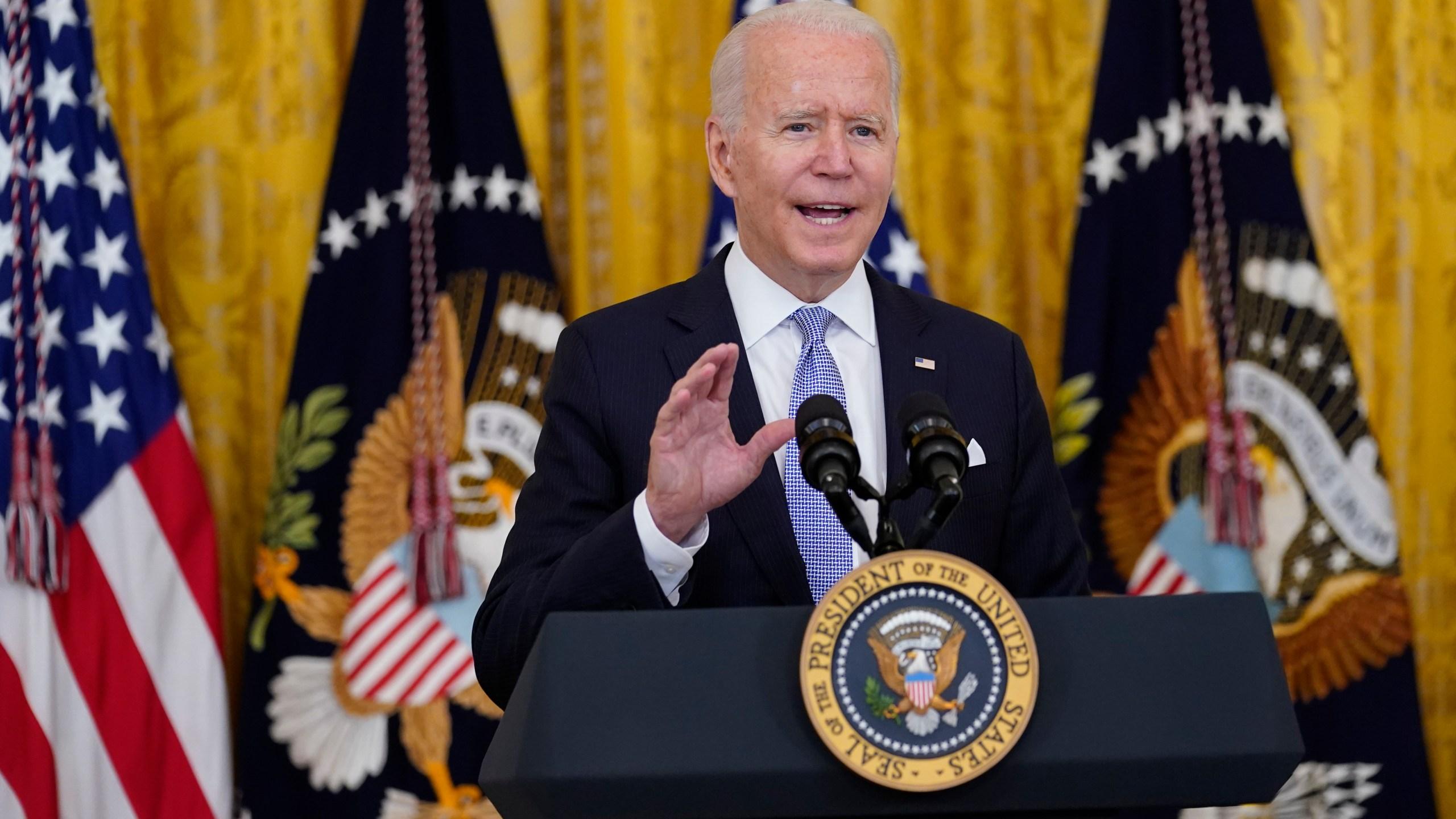 President Joe Biden speaks in the East Room of the White House on July 29, 2021. (Susan Walsh/Associated Press)