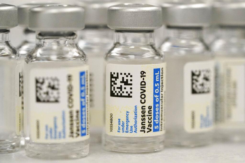 This Saturday, March 6, 2021 file photo shows vials of Johnson & Johnson COVID-19 vaccine at a pharmacy in Denver. (AP Photo/David Zalubowski, File)